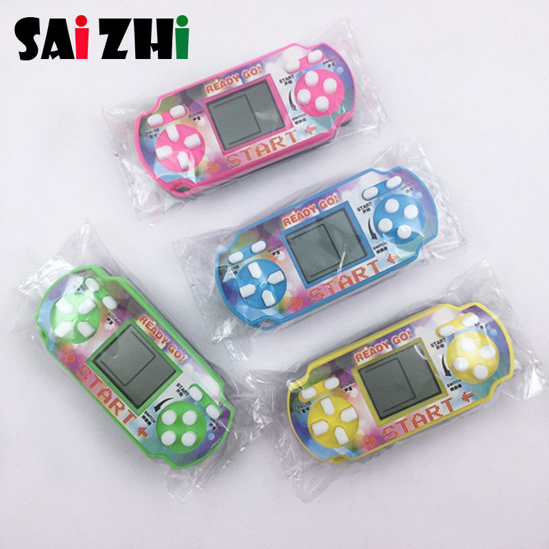 Saizhi Classical Game Tetris Electronic Mini Cyber Machine Education Toys For Kids Game Keychain Gifts toys color random 2013 image