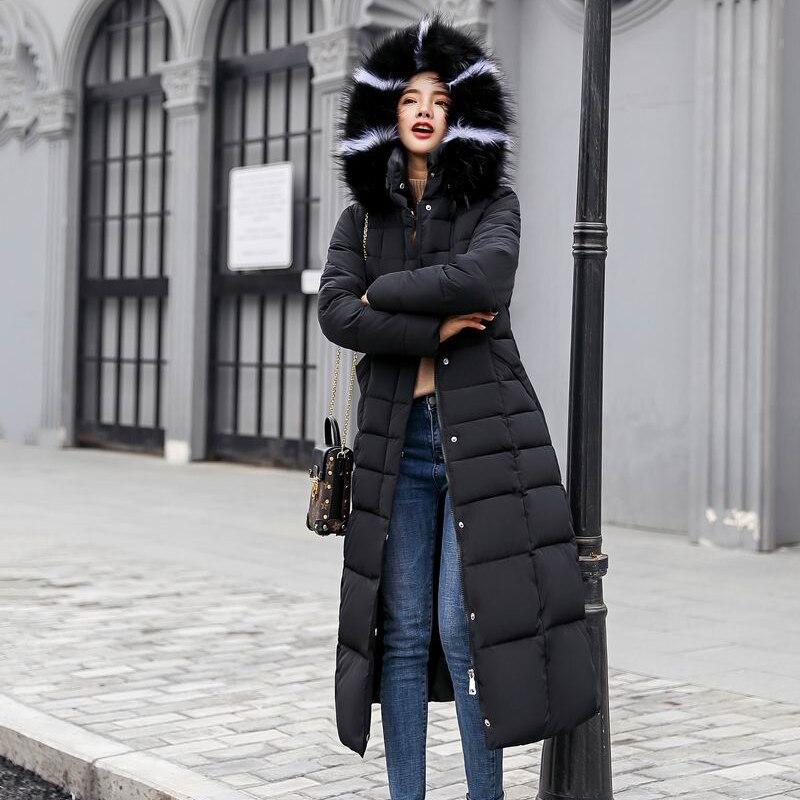 blanc xxxl Parkas Femmes X rouge caramel Noir 2018 Femelle Grand Manteaux gris army Green Fourrure Col La Hiver De M Vestes Taille Plus Noir long Caramel Inverno Casacos Ceintures qfp7Htn