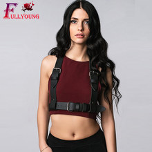 Fullyoung Leather Harness Sexy Belt Lingerie Pu leather  For Adult Adjustable Body Bondage Cage Top Women PU Leather Sexy Erotic body harness bondage sex toys pu arm binder restraints sex products pu leather sleeves adult game slave fetish wear for couple