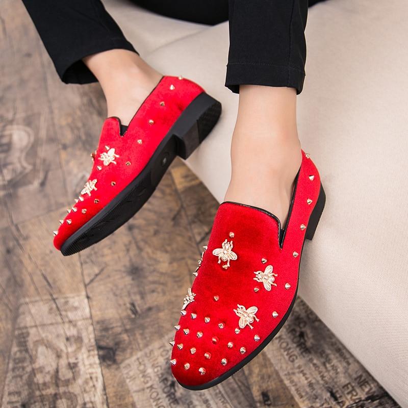 HTB19Ll1XUzrK1RjSspmq6AOdFXa4 New Fashion Gold Top and Metal Toe Men Velvet Dress shoes Italian men's dress shoes Handmade Loafers