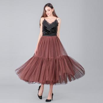 3 Colors 90 cm Runway Luxury Soft Tulle Skirt Hand-made Maxi Long Pleated Skirts Womens Vintage Petticoat Voile Jupes Falda 4
