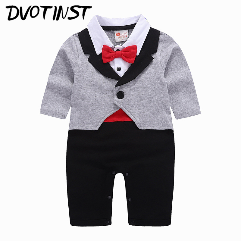 Dvotinst Baby Boy Clothes Full Sleeves Gentleman Tuxedo Rompers Outfit Infant Toddler Jumpsuit Event Wedding Costume Clothing nyan cat baby boy clothes short sleeves gentleman bow tie vest romper hat 2pcs set outfit jumpsuit rompers party cotton costume