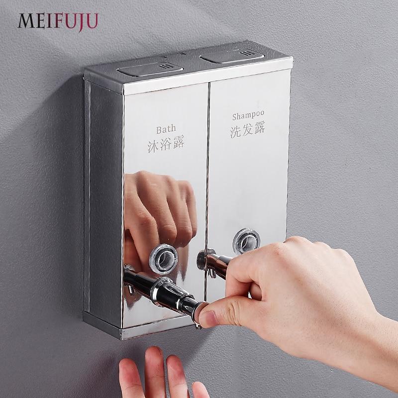 SUS304 acier inoxydable Double distributeur de savon mural distributeurs de douche savon liquide noir salle de bains shampooing distributeur Chrome