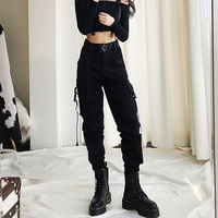 Spring Women BLACK Army Cargo Pants Unisex Hip Hop Sashes Trousers BF Harajuku Joggers High waist overalls loose casual Pants