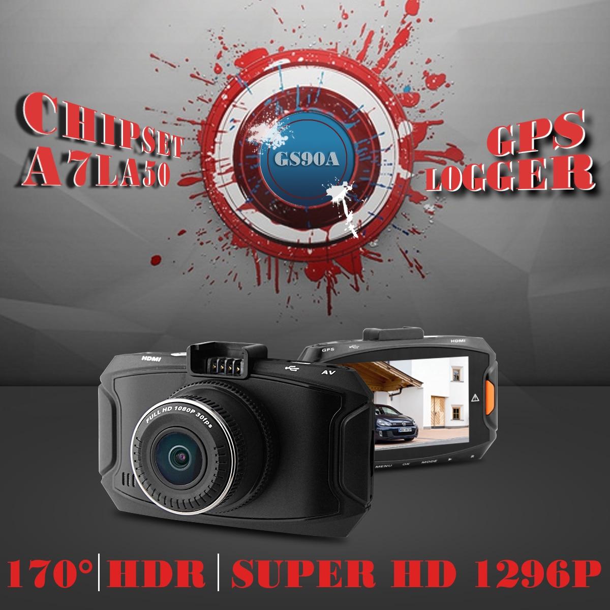 Car Camera Ambarella A7 Car DVR GS90A 1296P Full HD DVR Recorder Dash Cam GPS Logger Night Vision OV4689 Sensor Camcorder 8269