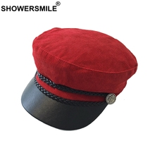 SHOWERSMILE Red Newsboy Hat For Women Cotton Flat Caps Ivy Female Leather Vintage Baker Boy Cap English Style Autumn Painter