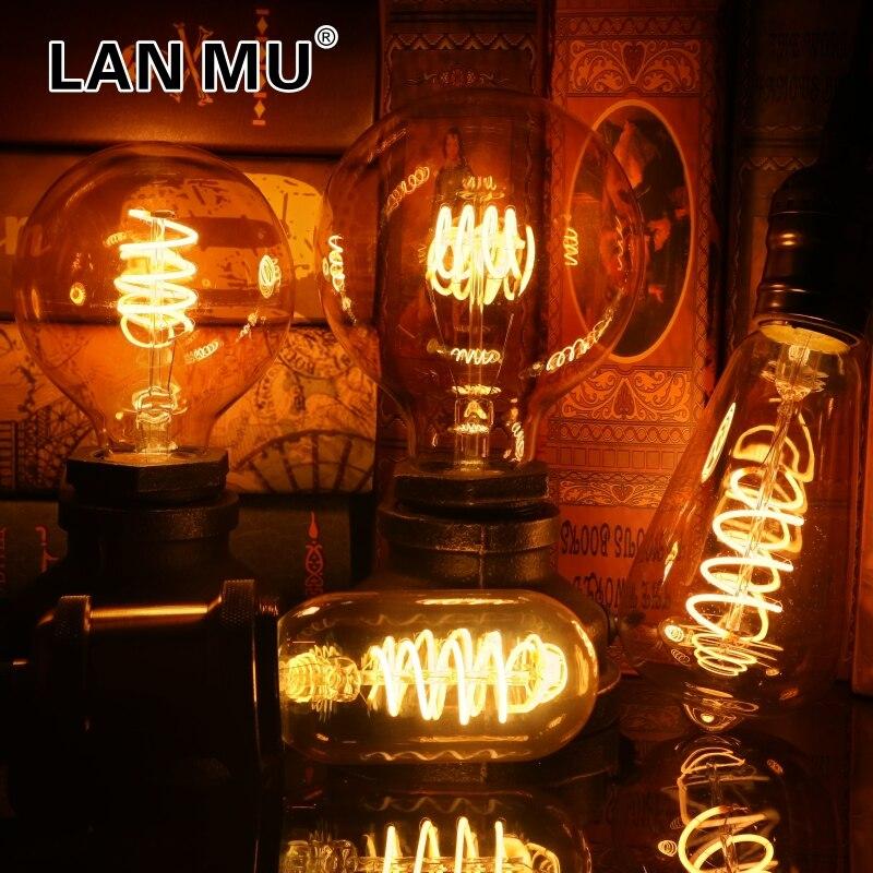 Rétro Spirale filament LED Ampoule T45 ST64 G80 G95 G125 4W E27 220V Dimmable Edison Lampe 2200K Jaune Chaud lumière LED