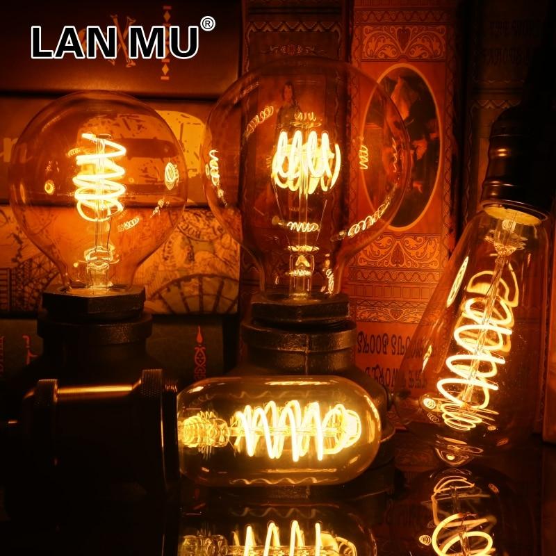 Retro Spiral Filament LED Bulb T45 ST64 G80 G95 G125 4W E27 220V Dimmable Edison Lamp 2200K Warm Yellow Led Light