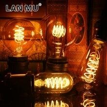 Retro Spiral Filament LED ampul T45 ST64 G80 G95 G125 4W E27 E14 220V dim Edison lamba 2200K sıcak sarı Led ışık