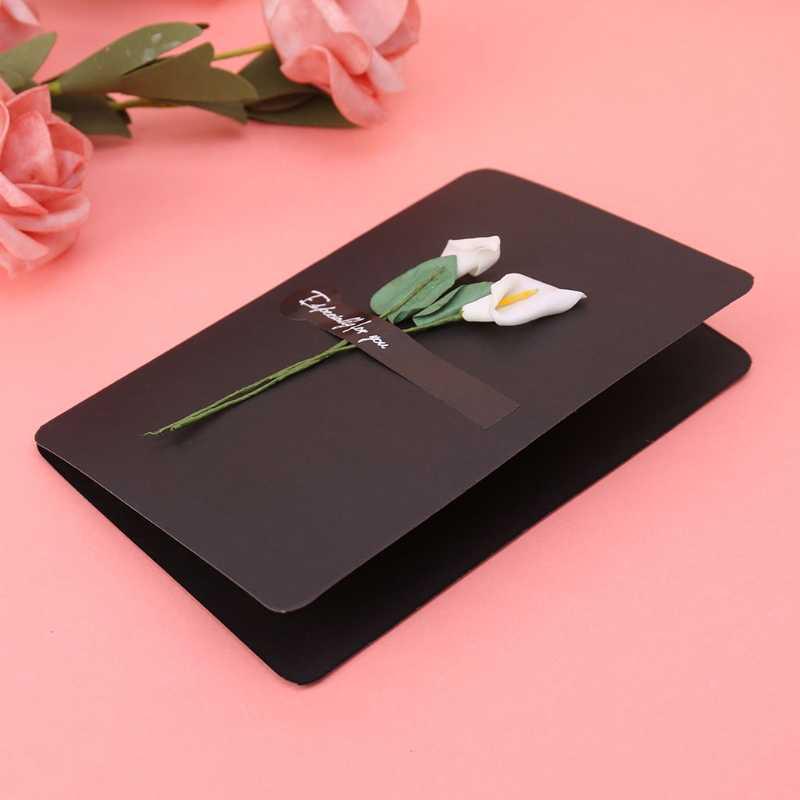 מלאכותי פרח בעבודת יד כרטיס ברכת הודעה נייר הזמנה DIY מעטפת W229