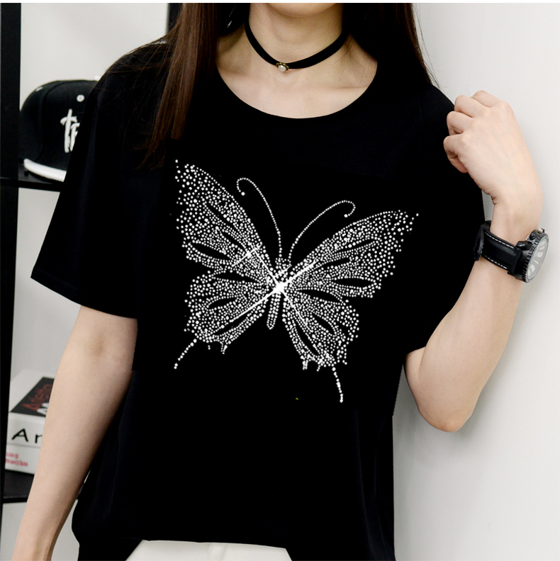 2PC/LOT Shirt appliques designs iron on transfer hot fix rhinestone transfer motifs iron on applique patches shirt