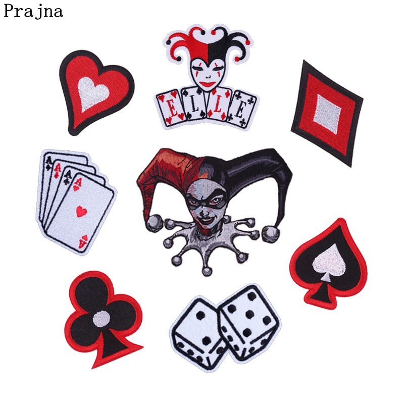 Prajna Gambling Iron On Patch King Dice Spade Poker Embroidery Patches For Clothing Gamble Clothes Stickers Biker Man DIY Jeans super bowl ring 2019