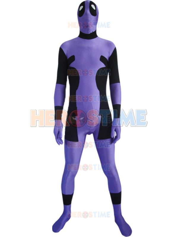 Purple and Black Spandex Deadpool Costume Spandex Zentai Deadpool Cosplay Full Bodysuit Lycra Halloween Stage Performance Suit