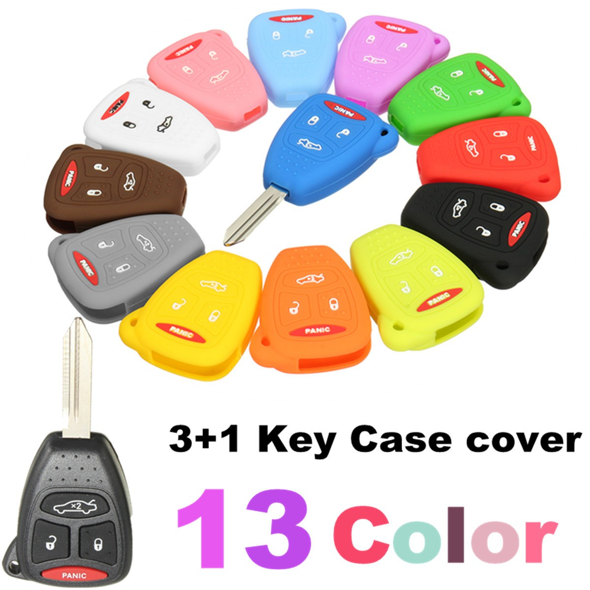 silicone  button remote key case fob protect cover  jeep dodge chrysler  colors  key