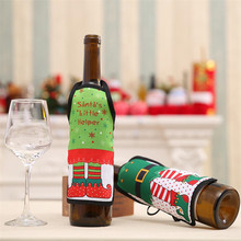 Christmas Small Apron bottle Wine Cover bag Sexy Lady/Xmas Dog/Santa Pinafore red wine bottle wrapper Xmas home decoration