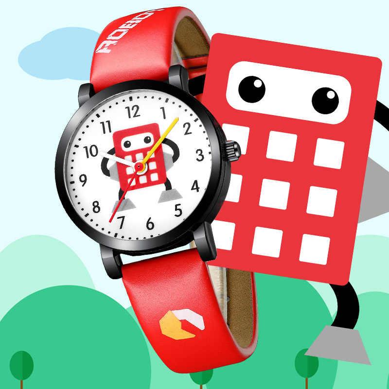 KDM fille montre enfant montres étanche en cuir véritable sangles Sport dessin animé Robot enfants montres mignon montre-bracelet horloge