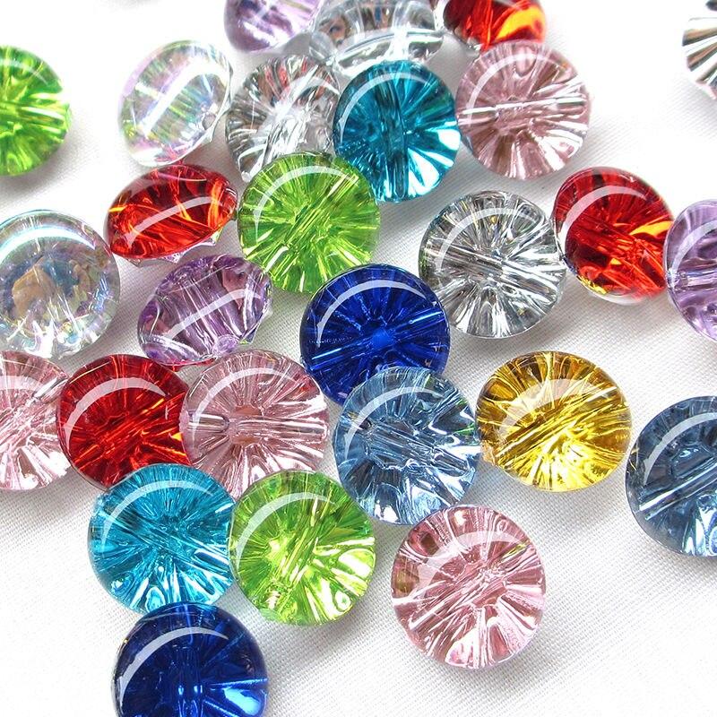 Прозрачные пластиковые пуговицы CNCRAFT 50 шт./лот, пуговицы конфетных цветов с полушариками, 11, 12, 13 мм, пуговицы в форме алмазов для шитья