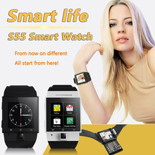 S55 Smart Watch 1.54″240*240Screen MTK6572 Dual Core 2.0M Camera Support 2G/3G Wifi SIM Card 512+4GB GPS WCDMA GSM Android Phone