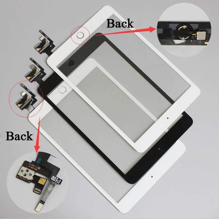 10 Pcs/lot For IPad Mini 1/2 Mini 3 Touch Screen Digitizer Assembly With Home Button & Home Flex Cable+ IC Connector