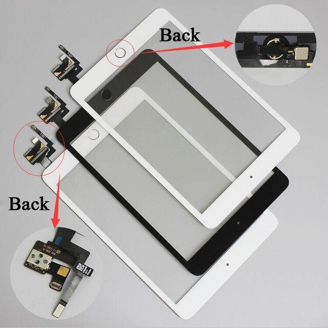 10 ชิ้น/ล็อตสำหรับ iPad mini 1/2 mini 3 หน้าจอสัมผัส Digitizer ประกอบกับปุ่ม Home และ Flex Cable + IC Connector