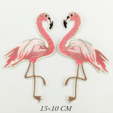 Flamingo Birds Embroidered Patches Large Size for Clothes Ironing Sew Appliques for Jackets Bags Shoes Sticker Badges(China)