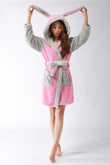 New plush robe Adult Animal Pink rabbit Pajamas long sleeve lovely  Sleepwear bath robes dressing gowns for women bathrobe 7a007ab4e