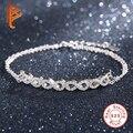 925 Sterling Silver Chain link Pulseiras Para Mulheres Espumante Limpar Cubic Zirconia Encantos Infinito Pulseira Moda Feminina Jóias