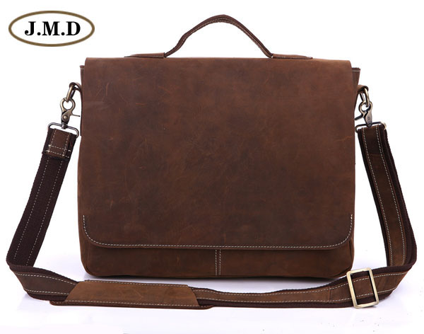 100 % Genuine Cow Leather Men's Simple Design Brown Briefcases Multifunction Handbag Messenger Cross Body 7108R-1