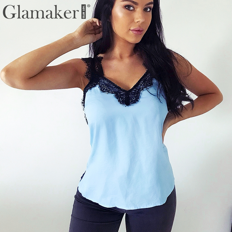 Glamaker Sexy v neck elegant lace women Satin black backless loose summer camisole   tank     top   Casual daily streetwear   top   cami