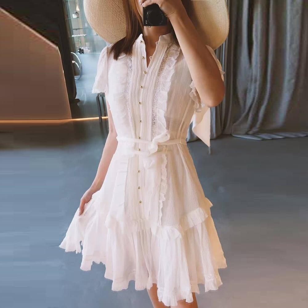 582c36838b37 OFTBUY 2019 summer beach dress elegant sexy ruffles lace patchwork high  waist mini party dress women