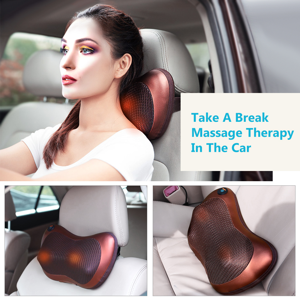 Relaxation Massage Pillow Electric Shoulder Neck Infrared Heating Massager Car Home Shiatsu Massage Tool Relieve Stress Pillow