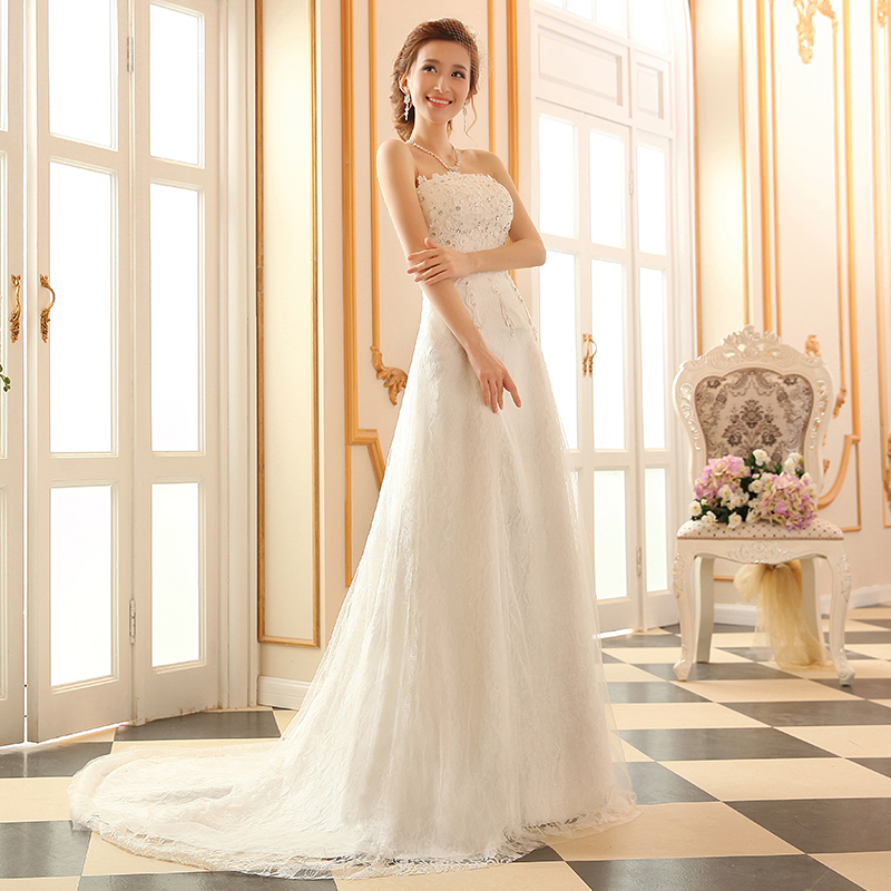 Latest Wedding Gowns 2014: Fashionable Winter New Sexy Tube Top Lace Wedding Dress