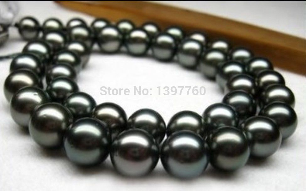 Miss charm Jew.151 stunning natural 11-12mm tahitian black pearl necklace 14KG AAA