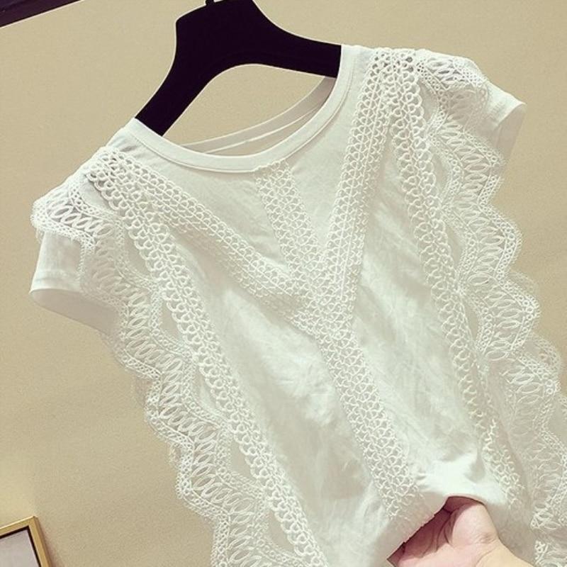 Verão 2019 Partes Superiores Das Mulheres E Blusas de Renda Retalhos de Manga Curta Camisa Sólida Blusa Mulheres Blusas Roupa Feminina D190517