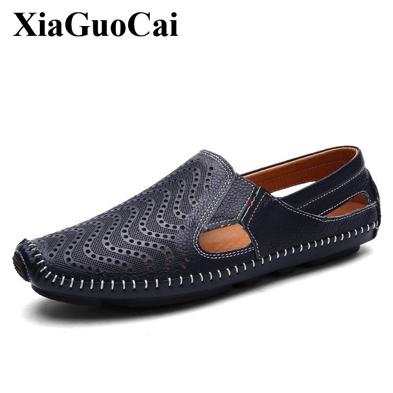 Genuine Leather Shoes Men Moccasins Hollow Breathable Slip-on Flats Shoes for Summer Soft Casual Loafers Driving Shoes H325 35 genuine leather men s flats casual luxury brand men loafers comfortable soft driving shoes slip on leather moccasins