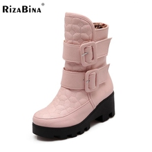 Женские короткие ботинки на плоской подошве до середины икры теплые зимние ботинки с густым мехом плюшевые Botas модная обувь P22023 размер 34-43