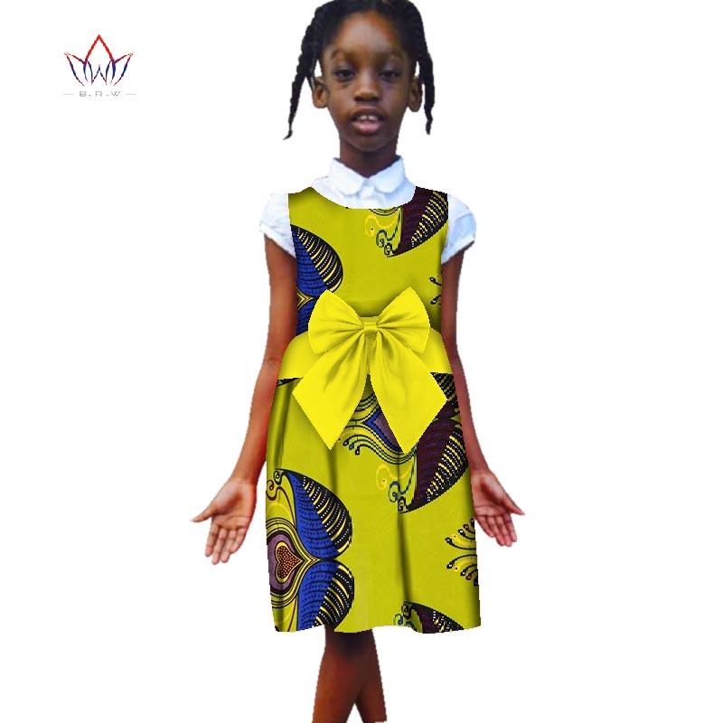 Mode 2018 nouveau Style afrique robe pour enfants Dashiki filles mignonnes robes Bazin Riche Bowknot doux bébé vêtements ATT122