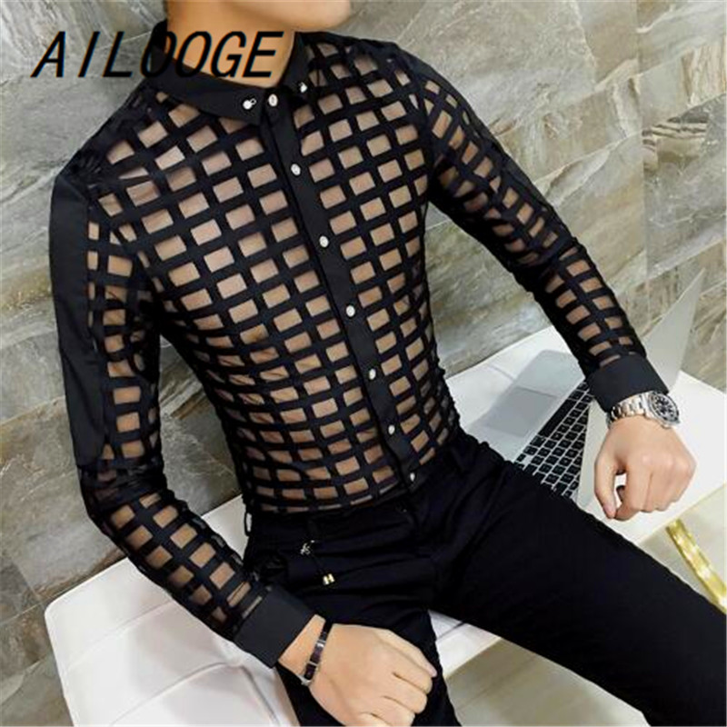 AILOOGE Men See Through Shirts Asian Fashion Mens Transparent Shirt Mens Club Outfit Plaid Shirts Black White Sexy Camisa Slim ...