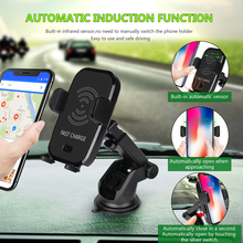 NTSPACE Car Infrared Sensor Automatic Qi Fast Wireless Car Mobile Phone Charger for iPhone X 8 Plus Samsung S9 S8 Plus S7 Note 8 car phone holder auto mount qi wireless fast charger charging automatic infrared sensor for iphone x 8 plus samsung s9 s8 note 8