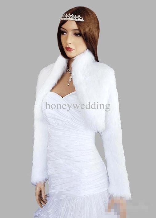 hot manches longues blanc ivoire noir en fausse fourrure veste de mariage bolro - Bolero Mariage Fausse Fourrure
