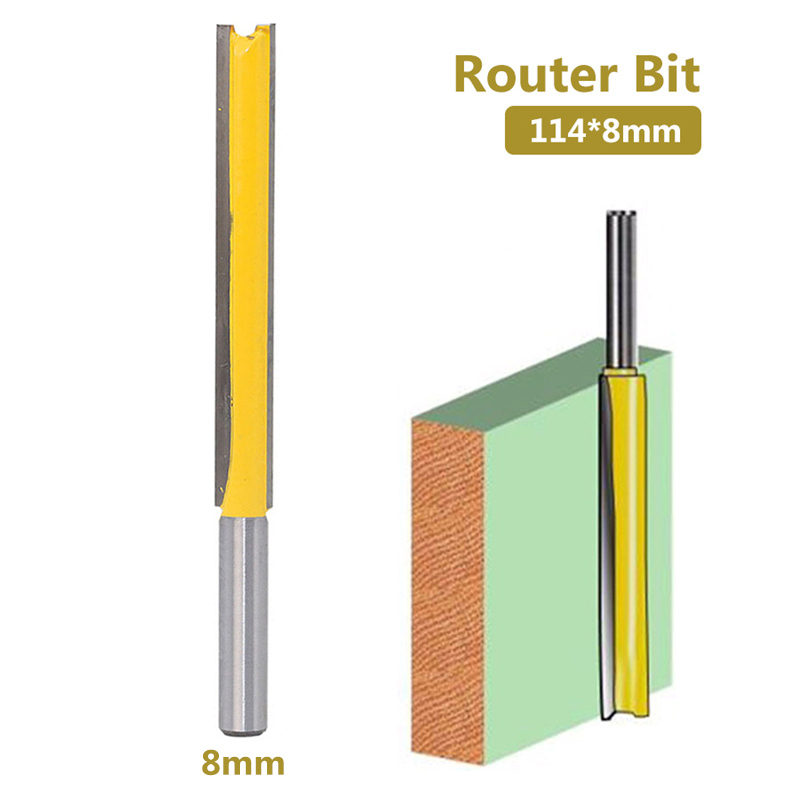 1pc Router Bit 8mm Shank /handle Lengthened Straight Knife Flush Trim Pattern Router Bit Knife For Woodwork