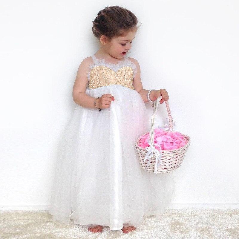 Sukienka dla dziewczyn 2018 Summer Sequined Lace Tutu Tulle Wedding - Ubrania dziecięce - Zdjęcie 4