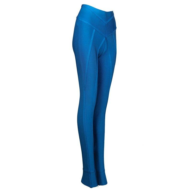Mujer Pantalones Lápiz Cintura Sexy Bodycon Alta Polainas Azul 2017 5XO0gnq8wq