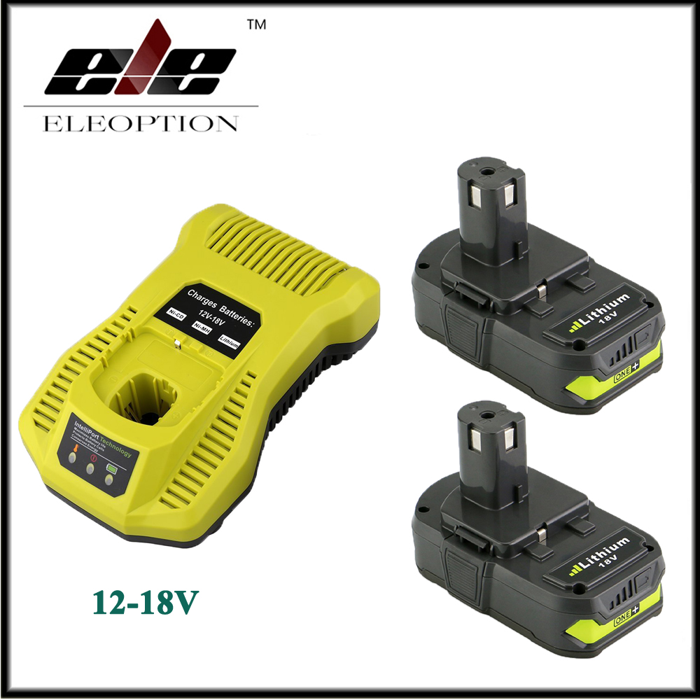 2x 18V 2500mAh Li-ion Replacement Battery For Ryobi RB18L25 One Plus for P103 P104 P105 P108 with P117 12-18V Charger