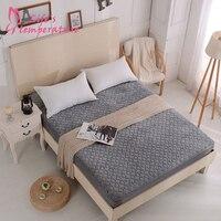 Soft Crystal Velvet Grey Beige Fitted Sheet Bamboo Fiber Quilting Moisture Absorption Wear Resistance Universal Home