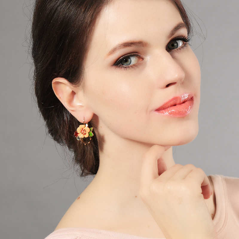 Shiny Gold Color Fresh Earring 2015 Summer New Arrival Bohemia Glass Enamel Flower Earring Accessories Feminine