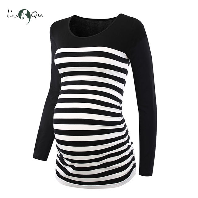 Long Sleeve Pregnancy Blouse Side Ruched Maternity Clothes Striped Patchwork Mama Top O neck Pregnant Clothes for Women Tops 2