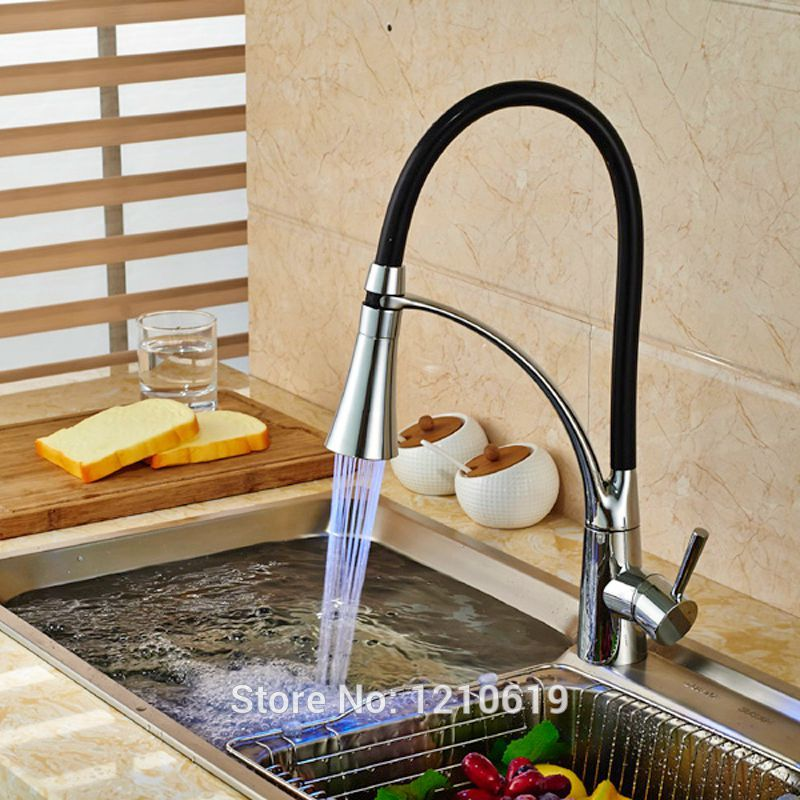 Newly Pull Down Kitchen Sink Faucet LED Light Basin Mixer Tap Chrome Finished Hot&Cold Water Tap kitchen chrome plated brass faucet single handle pull out pull down sink mixer hot and cold tap modern design
