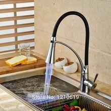 Недавно Pull Down Кухня Раковина Кран Светодиодные Бассейна Смесителя Хром Закончил Горячей и Холодной Водопроводной Воды