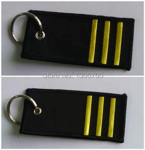 Copiloot Badge van Rang Sleutelhanger 3 Strepen Borduren op Beide zijden